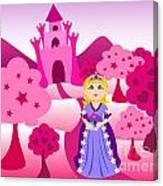 Princess And Pink Castle Landscape Canvas Print