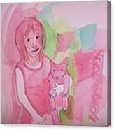 Princess With Dog Canvas Print