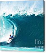Pro Surfer Kelly Slater Surfing In The Pipeline Masters Contest Canvas Print