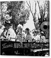Pro-viet Nam War March Beaver's Band Box Musicians Tucson Arizona 1970 Black And White Canvas Print