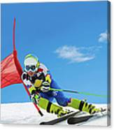 Professional Female Ski Competitor At Canvas Print