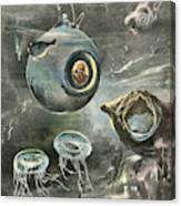 Professor Beebe In His  Bathysphere Canvas Print