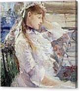 Profile Of A Seated Young Woman Canvas Print