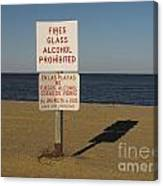 Prohibited Items Sign At Sandy Point Canvas Print