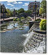 Promenade And Waterfall In Carroll Creek Park In Frederick Mary Canvas Print
