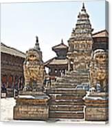 Protector Sculptures Near The Boundary Of Bhaktapur Durbar Square In Bhaktapur-nepal Canvas Print