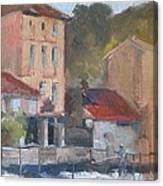 Provence Village Stream Canvas Print