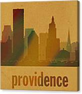 Providence Rhode Island City Skyline Watercolor On Parchment Canvas Print