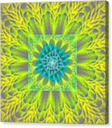 Psychedelic Spiral Vortex Yellow And Gray Fractal Flame Canvas Print