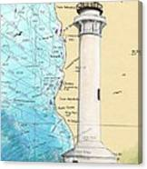 Pt Arena Lighthouse Ca Nautical Chart Map Art Cathy Peek Canvas Print