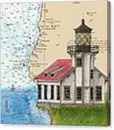 Pt Cabrillo Lighthouse Ca Nautical Chart Map Art Cathy Peek Canvas Print