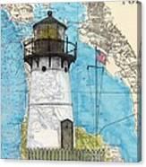 Pt Montara Lighthouse Ca Nautical Chart Map Art Cathy Peek Canvas Print