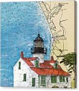 Pt Pinos Lighthouse Ca Nautical Chart Map Art Cathy Peek Canvas Print
