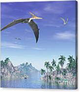 Pteranodon Birds Flying Above Islands Canvas Print