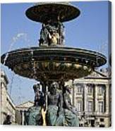 Public Fountain At The Place De La Concorde In Paris France Canvas Print