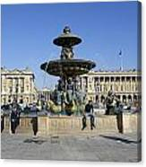 Public Fountain At The Place De La Concorde Canvas Print