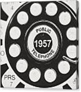 Public Telephone 1957 In Black And White Retro Canvas Print