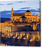 Puente Romano And Mezquita At Twilight In Cordoba Canvas Print