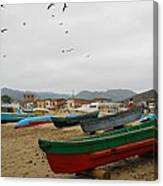 Puerto Lopez Beach And Boats Canvas Print