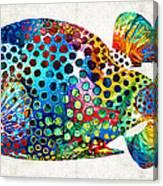 Puffer Fish Art - Puff Love - By Sharon Cummings Canvas Print