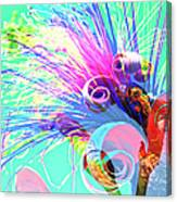 Puffy Bloom W Bee Abstract Canvas Print