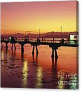 Puget Sound Olympic Mountains Fishing Pier Canvas Print