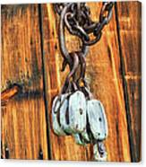 Pulley Hooks And Chain Canvas Print