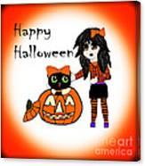 Pumpkin And Halloween Cat Canvas Print
