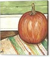 Pumpkin On A Rag Rug Canvas Print
