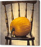 Pumpkin On Chair Canvas Print