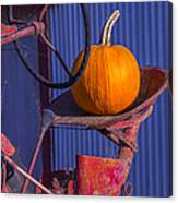 Pumpkin On Tractor Seat Canvas Print