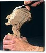 Puppet Being Carved From Wood Canvas Print