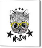 Puppy And Yellow Glasses Illustration Canvas Print