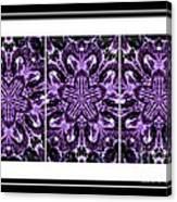 Purple Abstract Flower Garden - Kaleidoscope - Triptych Canvas Print
