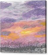 Purple And Gold November Sunset In West Michiganwatercolor Canvas Print