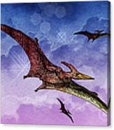 Purple And Green Ptreodactyls Soaring In The Sky Canvas Print