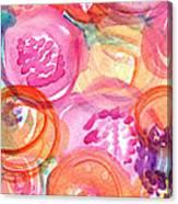 Purple And Orange Flowers Canvas Print