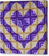 Purple And Yellow Endless Love Log Cabin Quilt Canvas Print