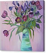 Purple Belle Bouquet  Tulips And Irises Canvas Print