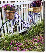Purple Bicycle And Flowers Canvas Print