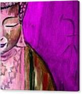 Purple Buddha With Characters Canvas Print