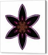 Purple Echinacea I Flower Mandala White Canvas Print