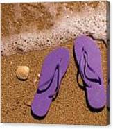 5cedc8083777 by Teri Virbickis. Purple Flip Flops On The Beach Canvas Print