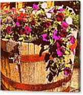 Purple Flowers In Rusty Bucket Canvas Print