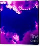 Purple Heart And Pink Clouds Canvas Print