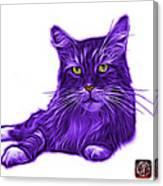 Purple Maine Coon Cat - 3926 - Wb Canvas Print