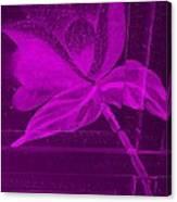 Purple Negative Wood Flower Canvas Print