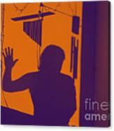 Purple Orange Figure Shadow Canvas Print