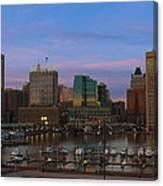 Purple Sky Above Downtown Baltimore Canvas Print
