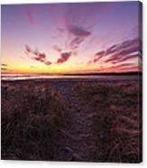 Purple Sunset Sky At The Beach Canvas Print